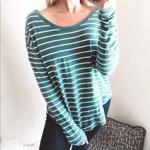 we the free - striped knit button long-sleeve top